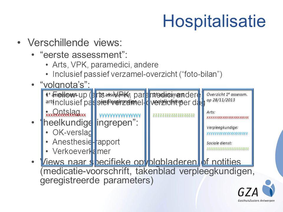 Hospitalisatie Verschillende views: eerste assessment : volgnota's :