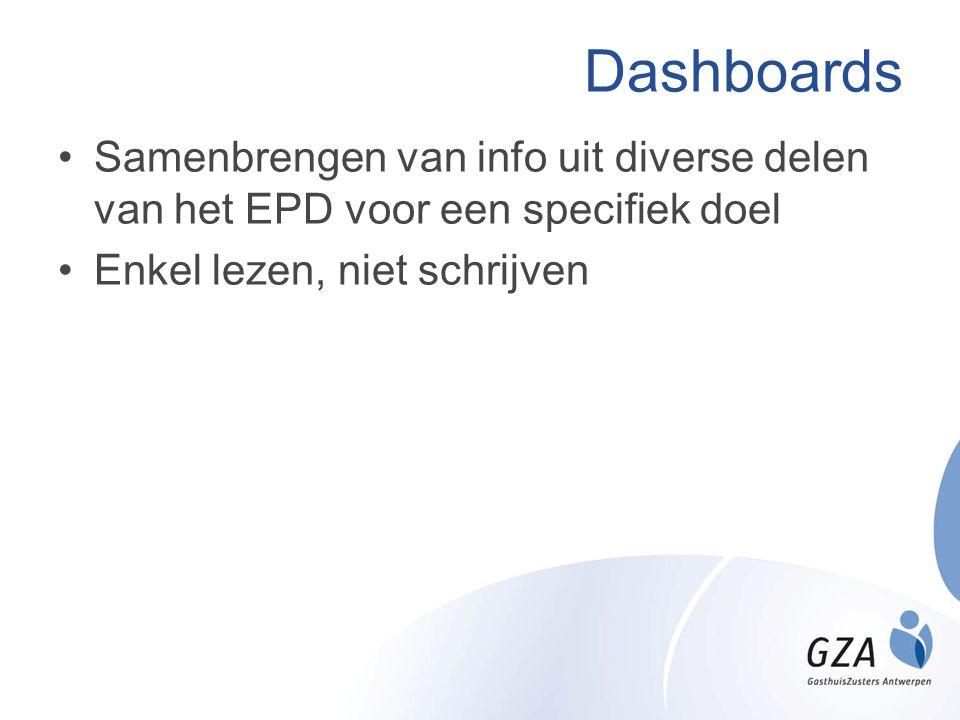 Dashboards Samenbrengen van info uit diverse delen van het EPD voor een specifiek doel.