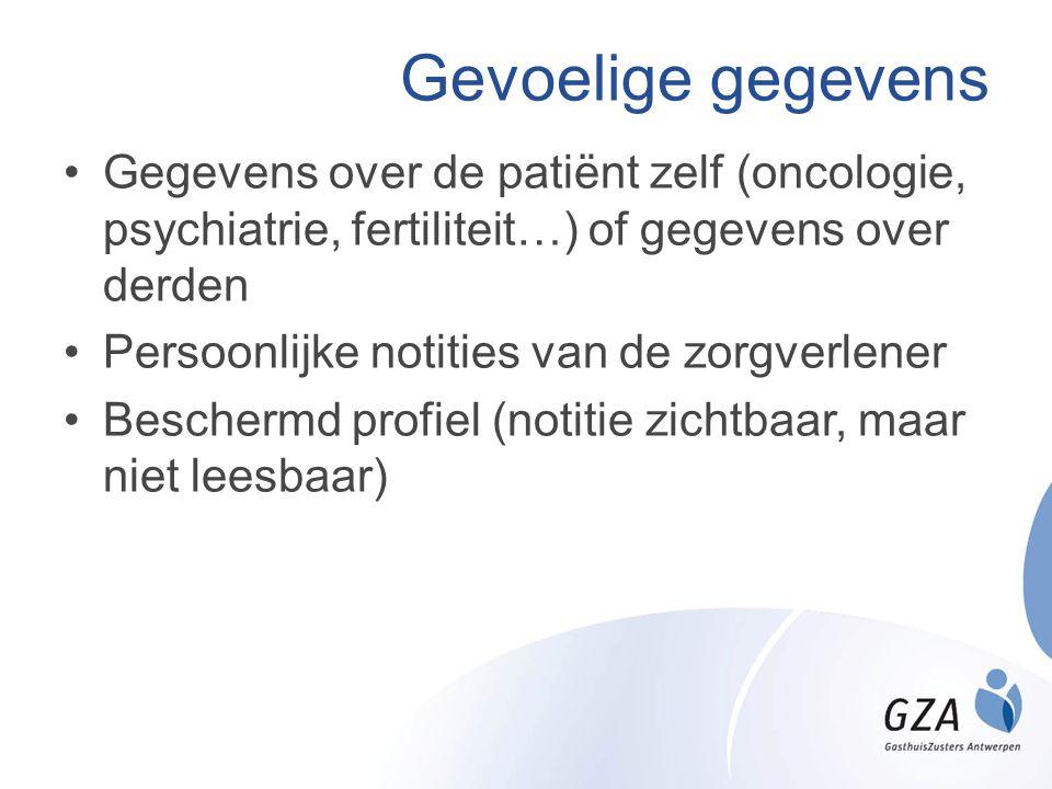 Gevoelige gegevens Gegevens over de patiënt zelf (oncologie, psychiatrie, fertiliteit…) of gegevens over derden.