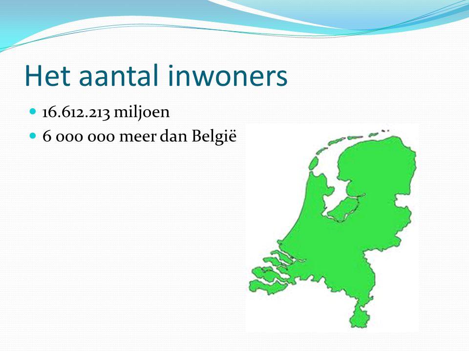 Het aantal inwoners 16.612.213 miljoen 6 000 000 meer dan België