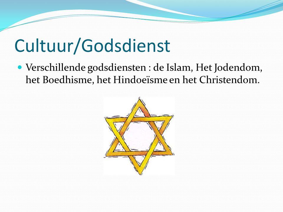 Cultuur/Godsdienst Verschillende godsdiensten : de Islam, Het Jodendom, het Boedhisme, het Hindoeïsme en het Christendom.