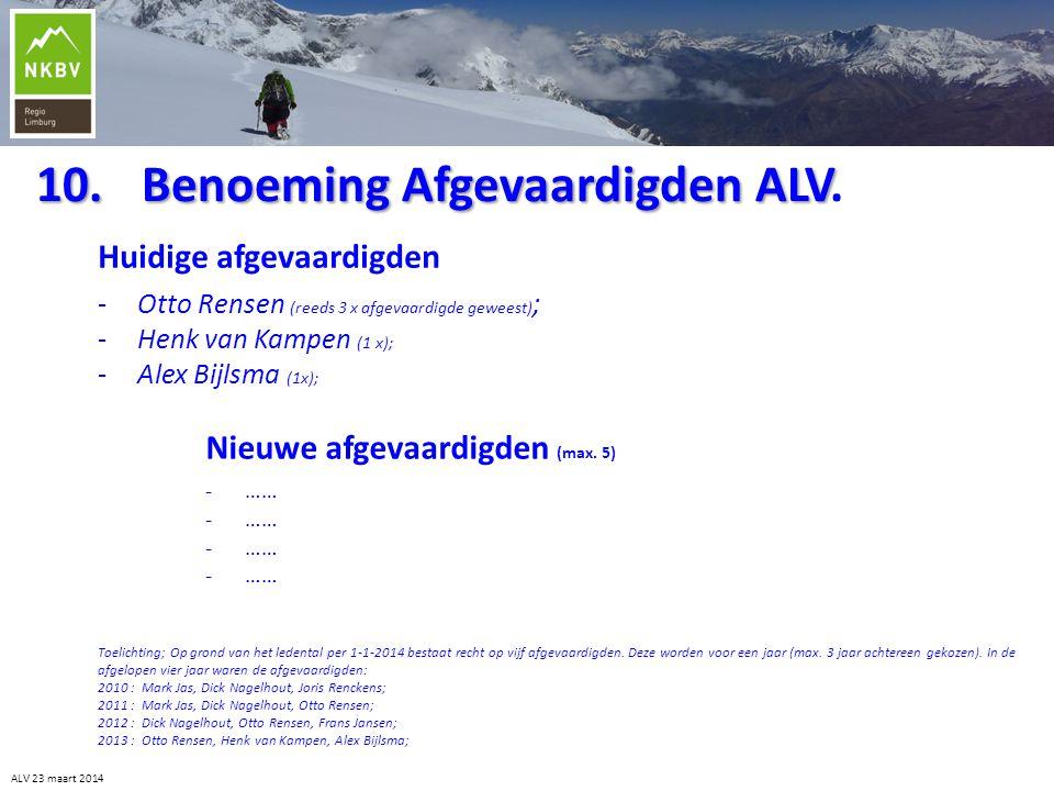 10. Benoeming Afgevaardigden ALV.