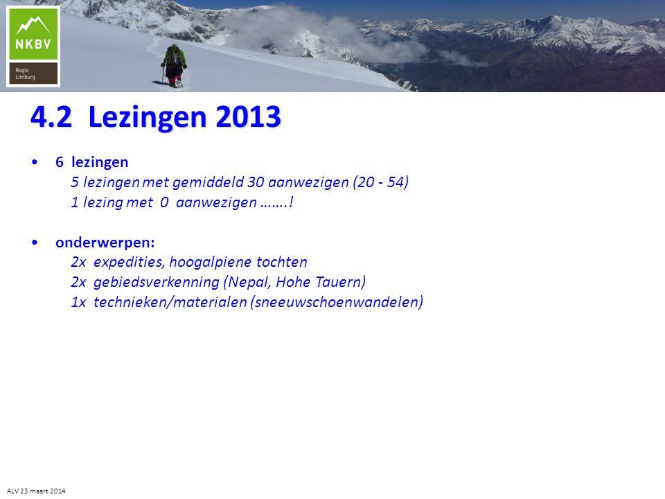 4.2 Lezingen 2013 6 lezingen. 5 lezingen met gemiddeld 30 aanwezigen (20 - 54) 1 lezing met 0 aanwezigen …….!
