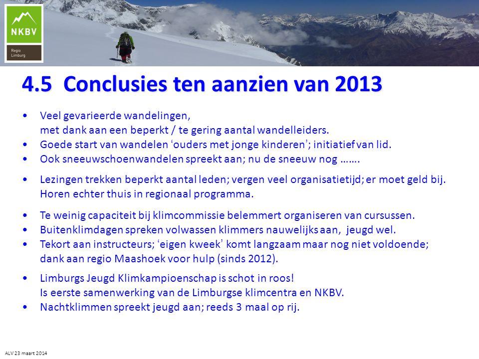 4.5 Conclusies ten aanzien van 2013
