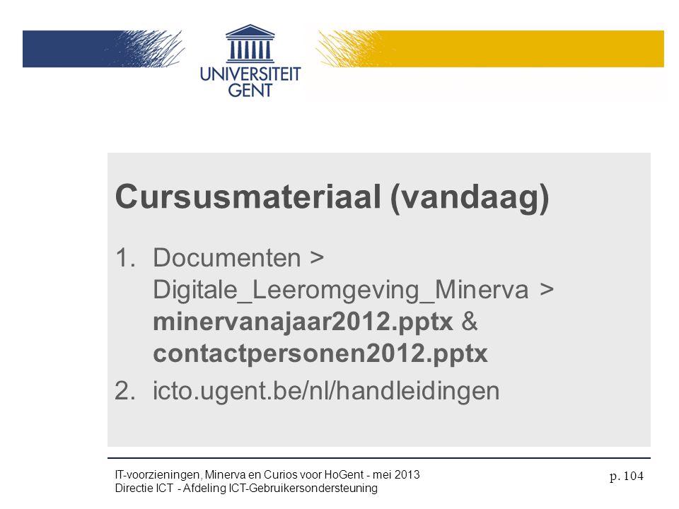 Cursusmateriaal (vandaag)