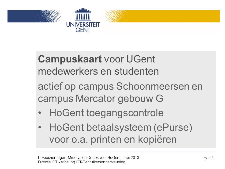 Campuskaart voor UGent medewerkers en studenten