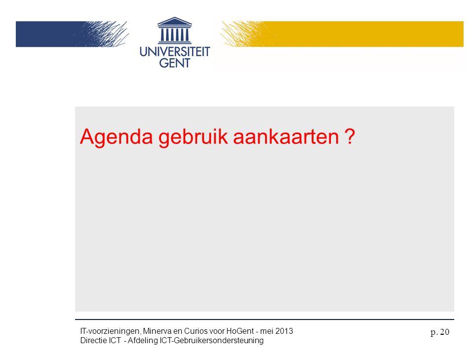 Agenda gebruik aankaarten