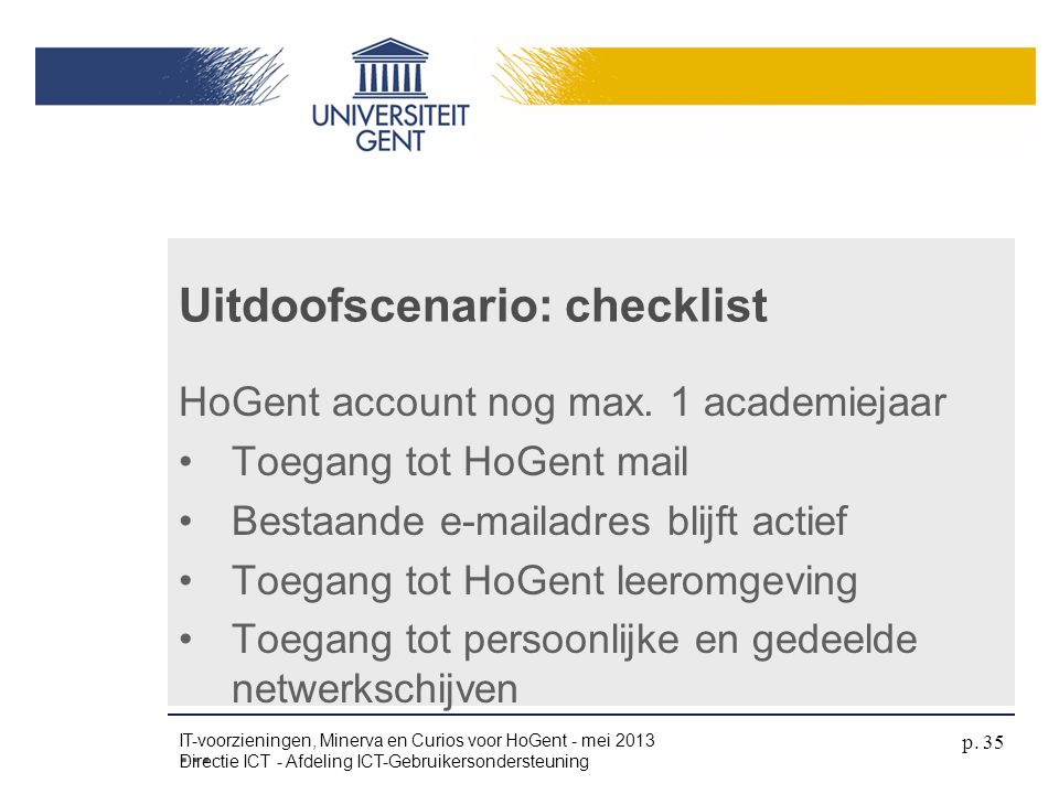 Uitdoofscenario: checklist