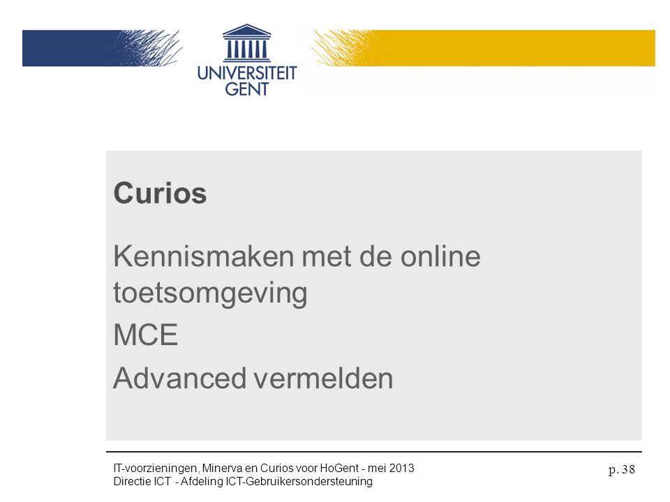 Kennismaken met de online toetsomgeving MCE Advanced vermelden