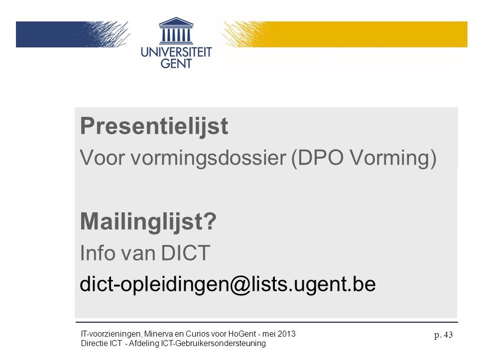 Presentielijst Mailinglijst Naamkaartje