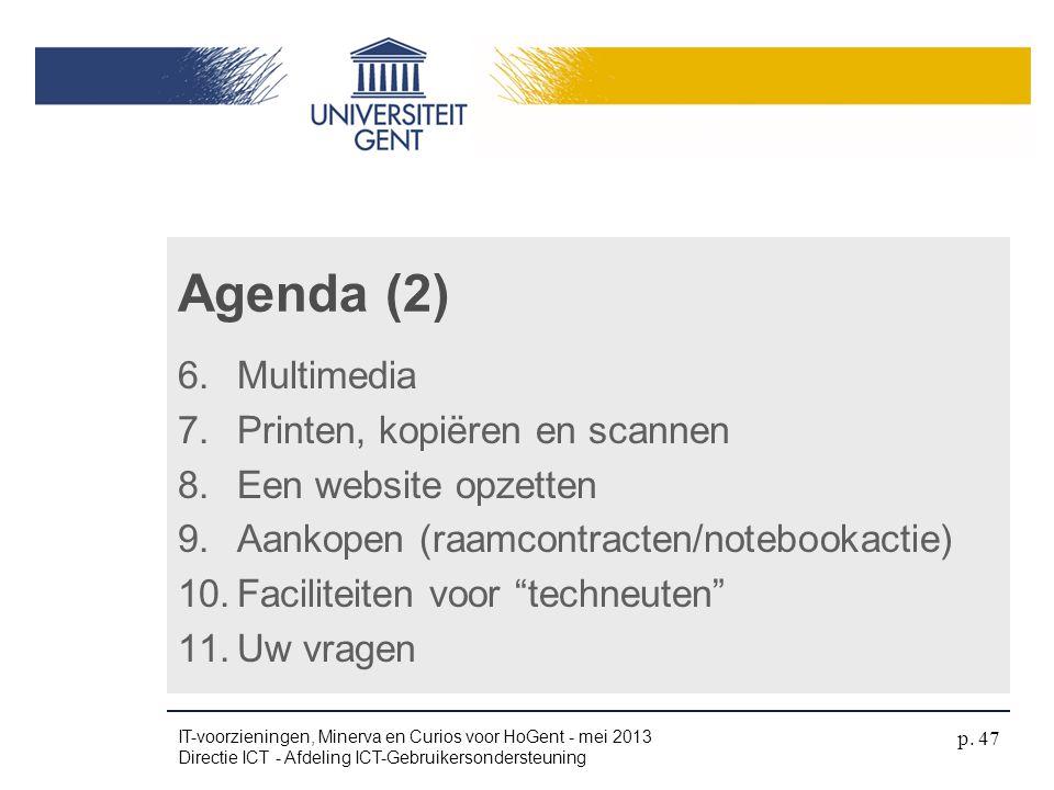 Agenda (2) Multimedia Printen, kopiëren en scannen