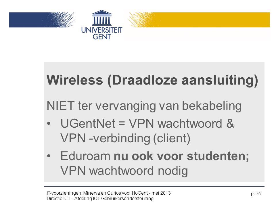 Wireless (Draadloze aansluiting)