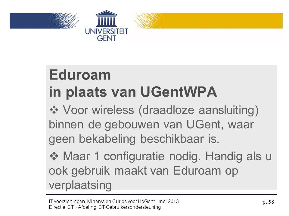 Eduroam in plaats van UGentWPA