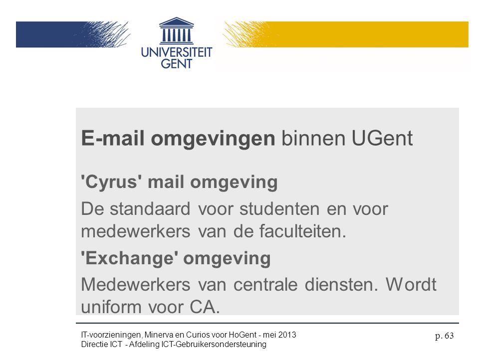 E-mail omgevingen binnen UGent