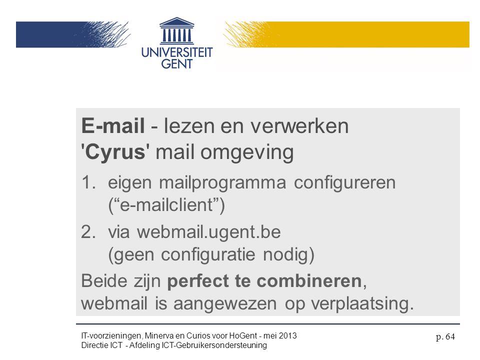 E-mail - lezen en verwerken Cyrus mail omgeving