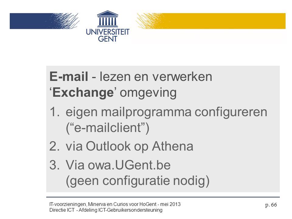 E-mail - lezen en verwerken 'Exchange' omgeving