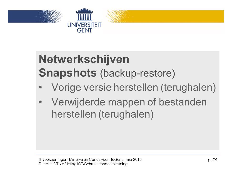 Netwerkschijven Snapshots (backup-restore)