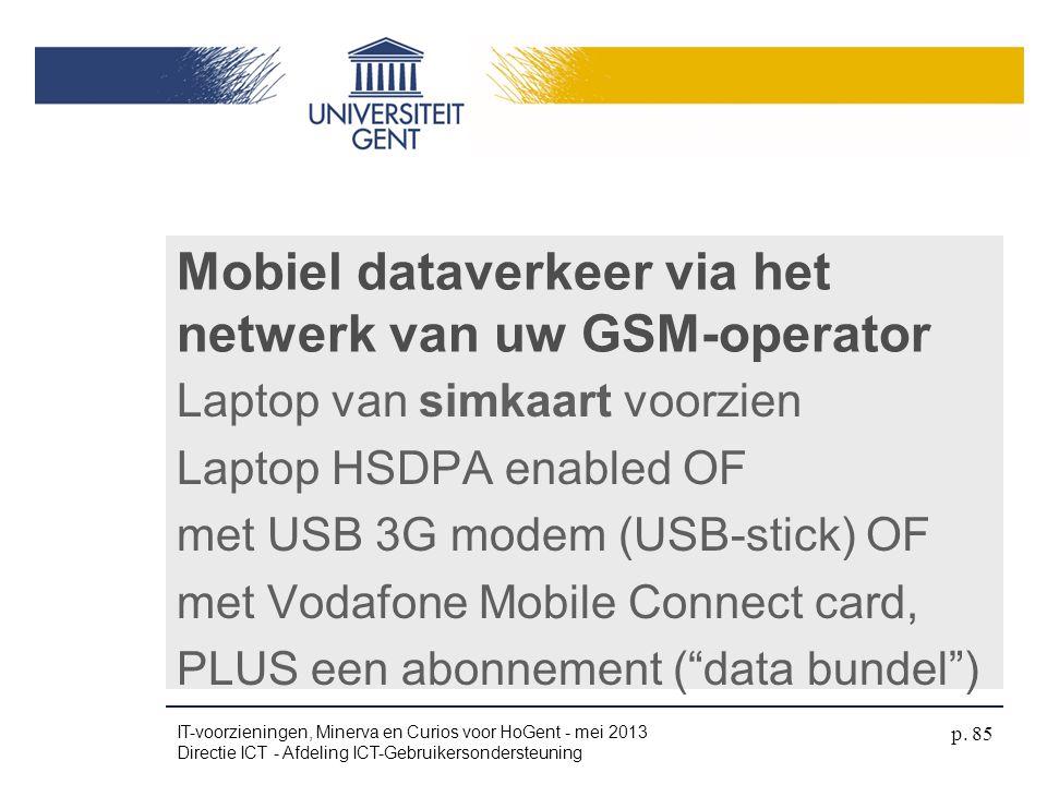 Mobiel dataverkeer via het netwerk van uw GSM-operator