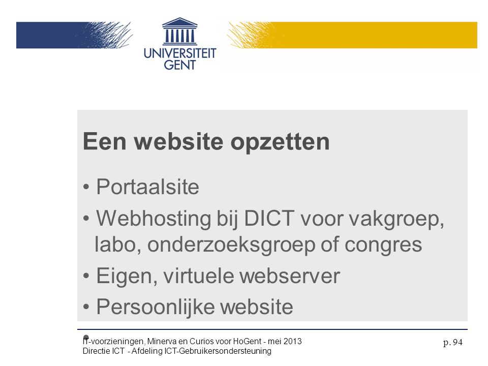 Een website opzetten Portaalsite