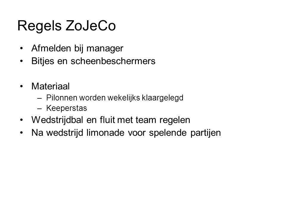 Regels ZoJeCo Afmelden bij manager Bitjes en scheenbeschermers