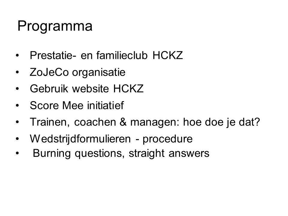 Programma Prestatie- en familieclub HCKZ ZoJeCo organisatie
