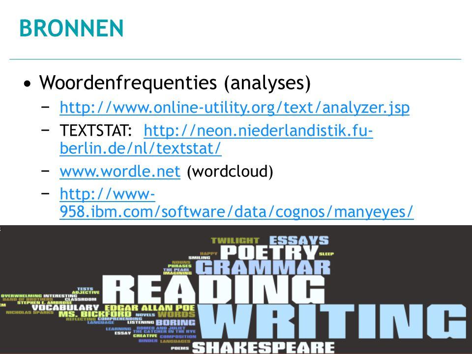 Bronnen Woordenfrequenties (analyses)