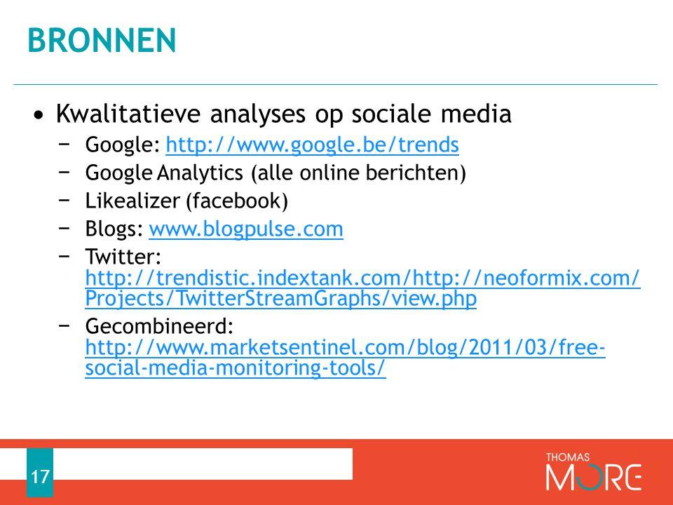 bronnen Kwalitatieve analyses op sociale media