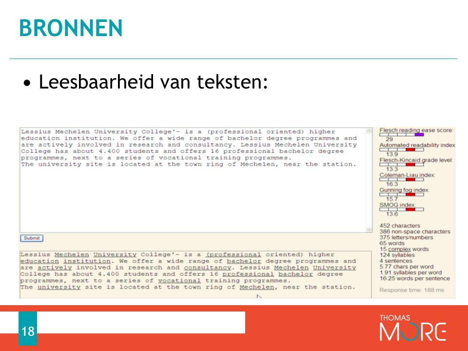 bronnen Leesbaarheid van teksten: