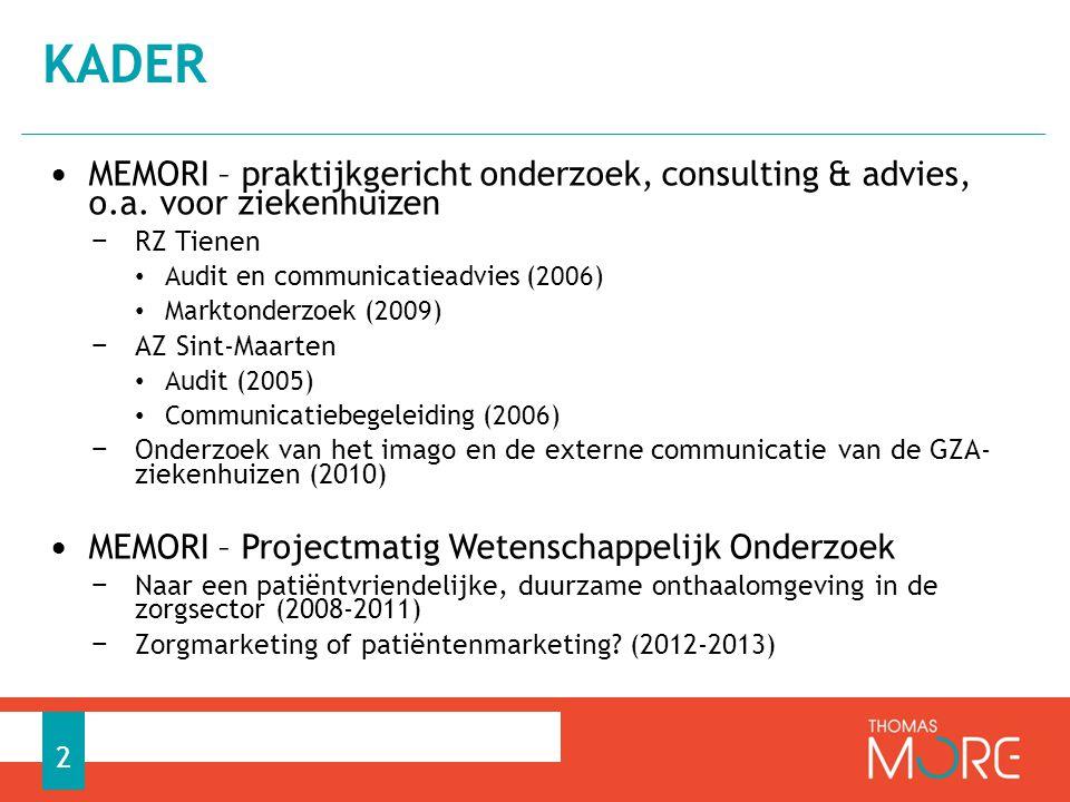 kader MEMORI – praktijkgericht onderzoek, consulting & advies, o.a. voor ziekenhuizen. RZ Tienen.