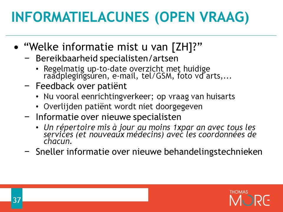 Informatielacunes (open vraag)