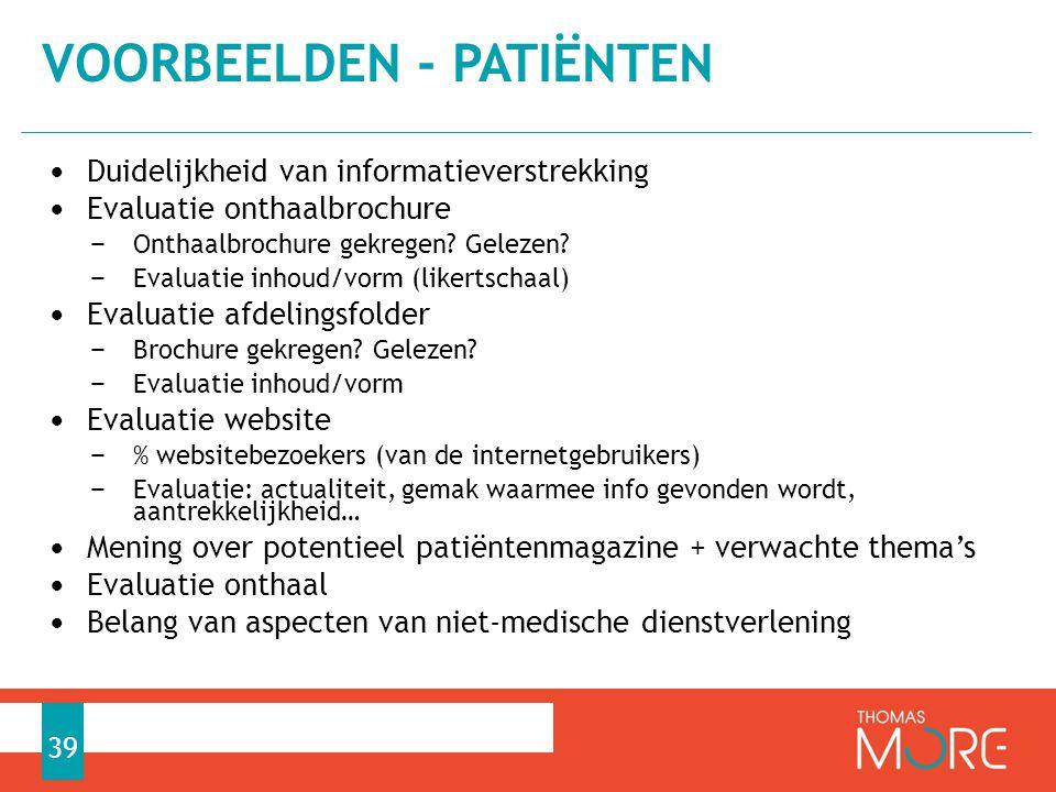 Voorbeelden - patiënten