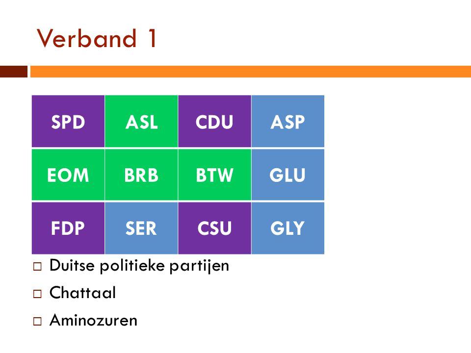 Verband 1 SPD ASL CDU ASP EOM BRB BTW GLU FDP SER CSU GLY