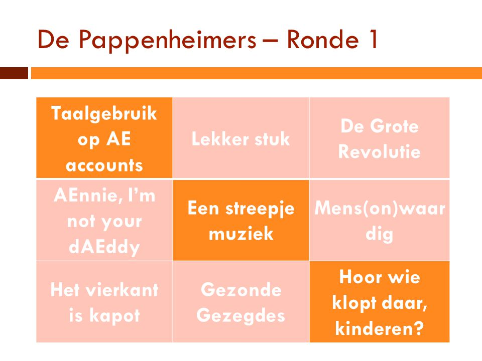 De Pappenheimers – Ronde 1