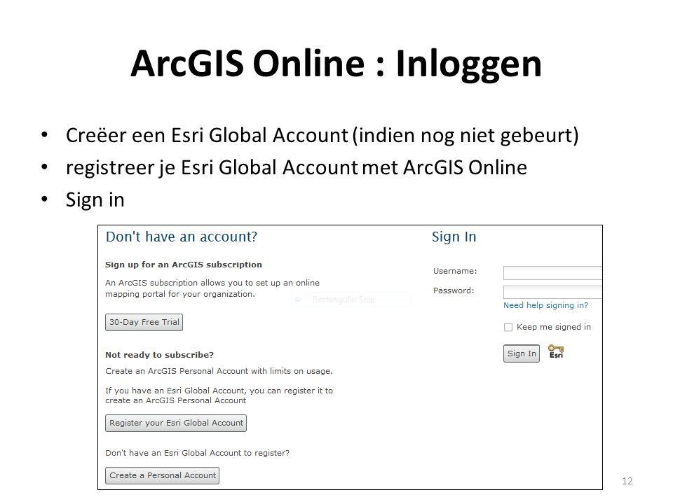 ArcGIS Online : Inloggen