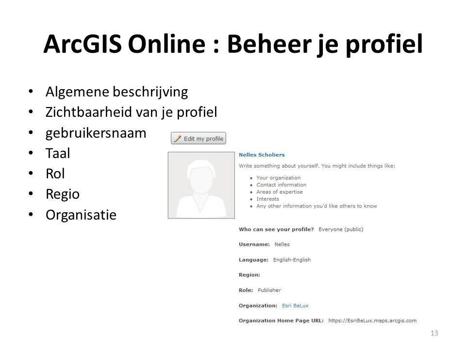ArcGIS Online : Beheer je profiel