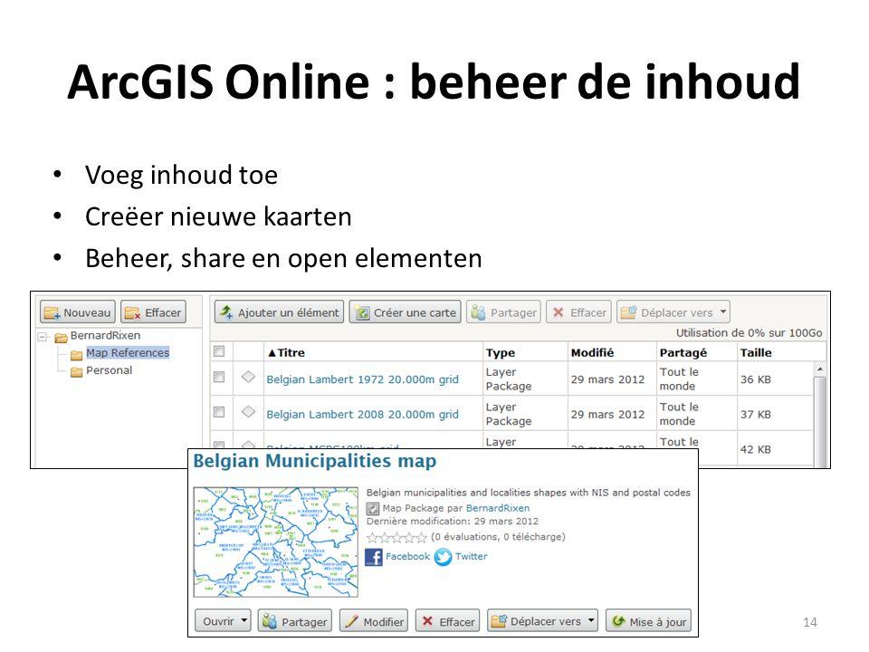 ArcGIS Online : beheer de inhoud