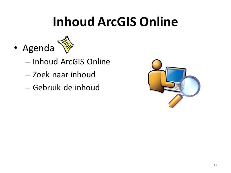 Inhoud ArcGIS Online Agenda Inhoud ArcGIS Online Zoek naar inhoud