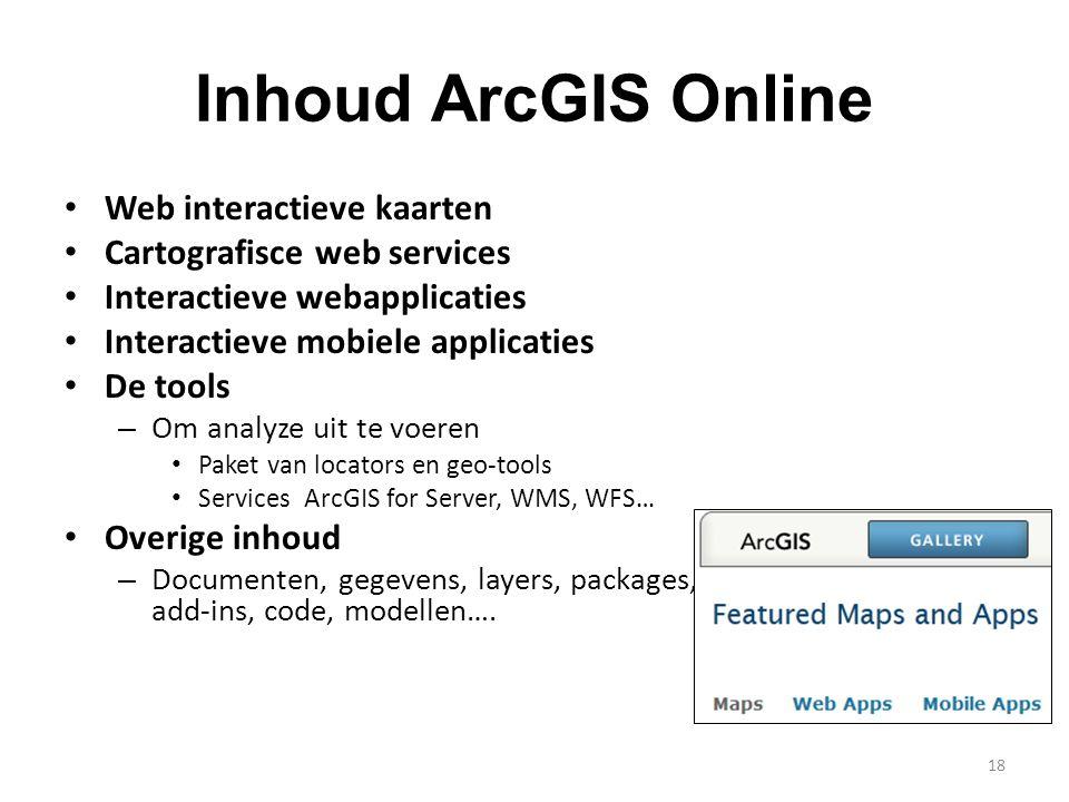 Inhoud ArcGIS Online Web interactieve kaarten