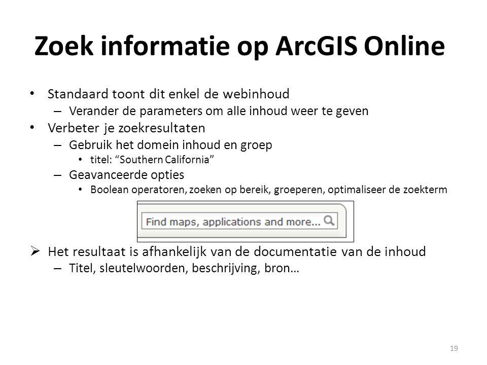 Zoek informatie op ArcGIS Online