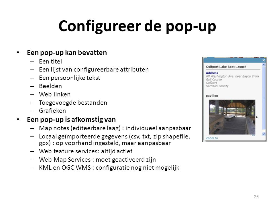 Configureer de pop-up Een pop-up kan bevatten