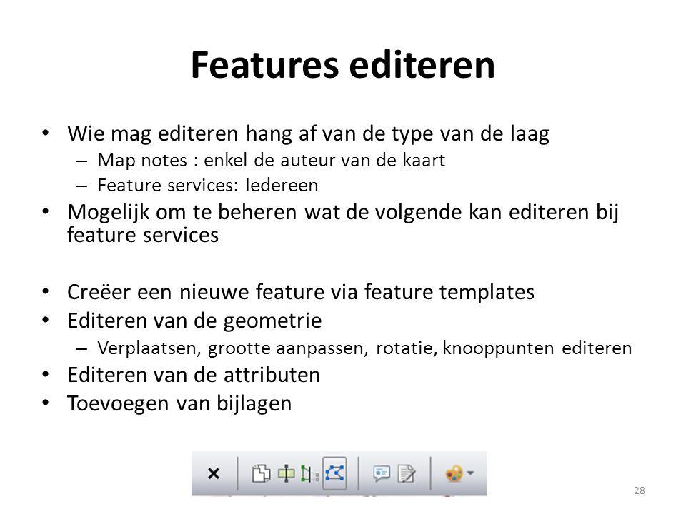 Features editeren Wie mag editeren hang af van de type van de laag