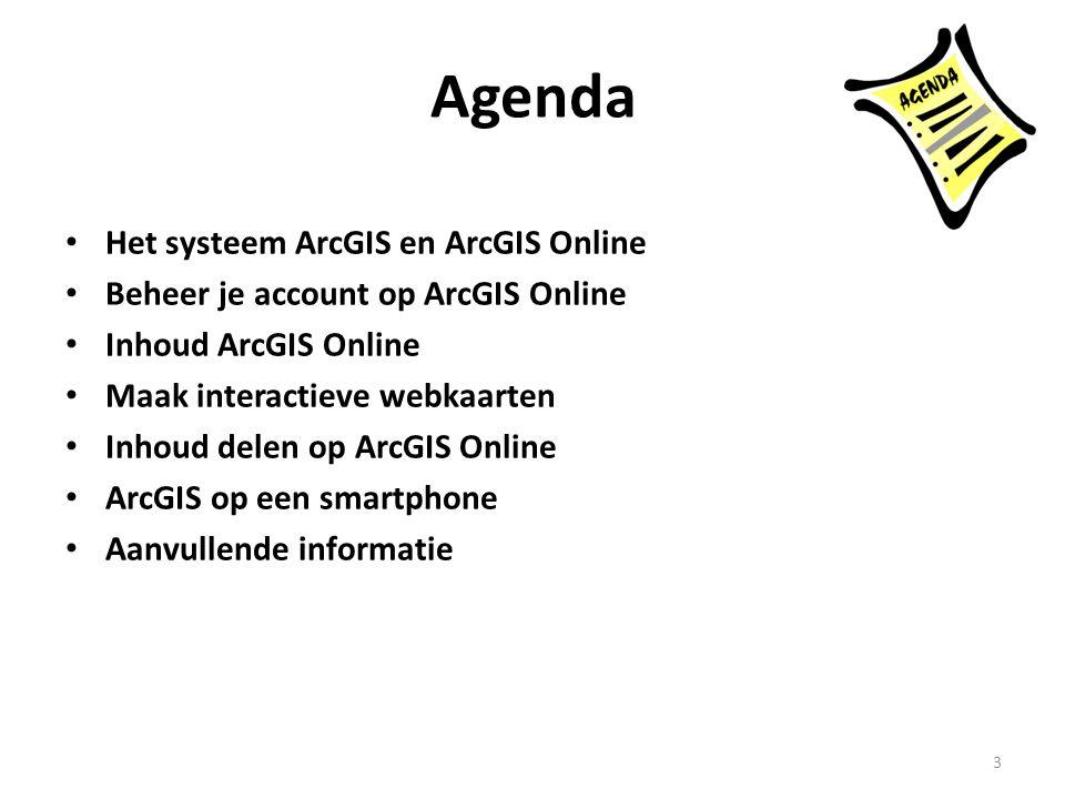 Agenda Het systeem ArcGIS en ArcGIS Online