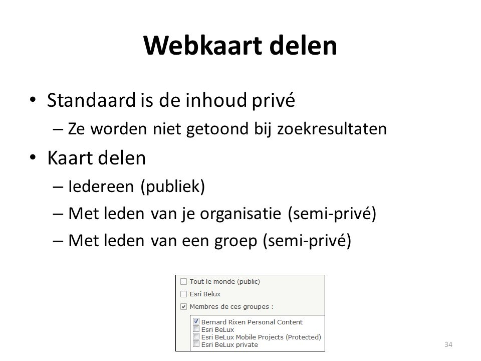 Webkaart delen Standaard is de inhoud privé Kaart delen