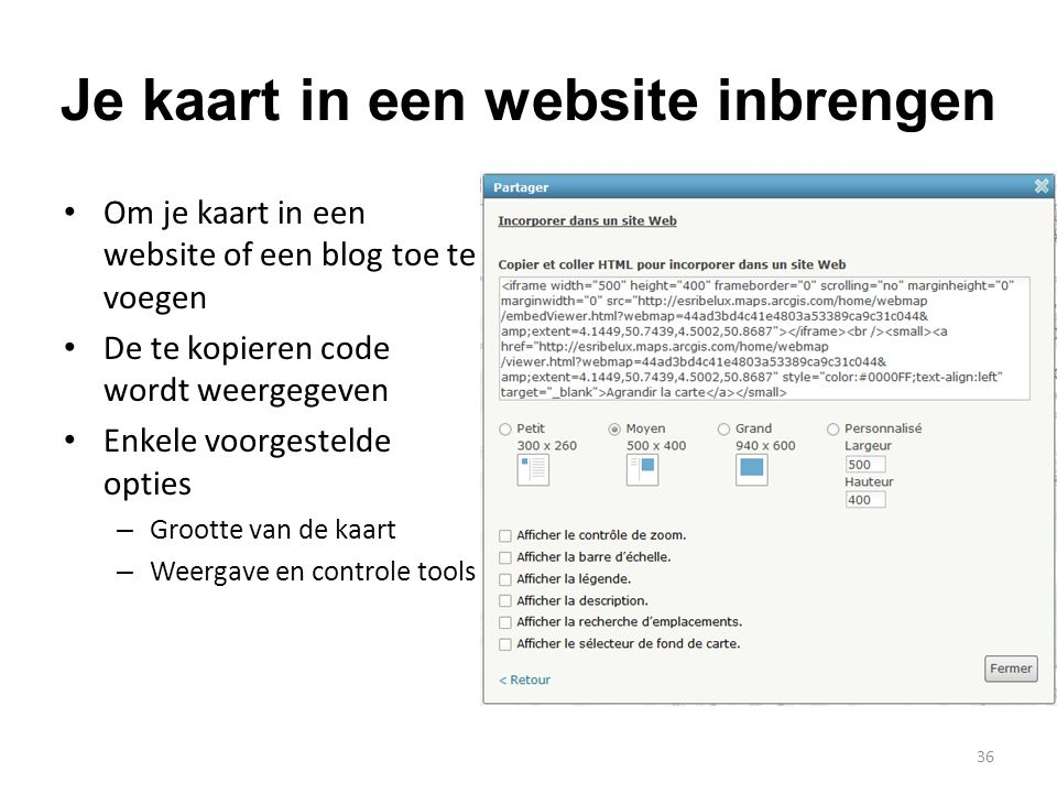 Je kaart in een website inbrengen