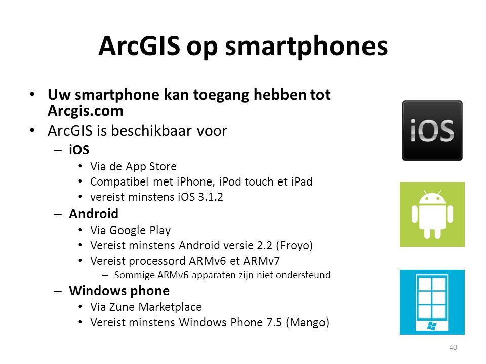 ArcGIS op smartphones Uw smartphone kan toegang hebben tot Arcgis.com