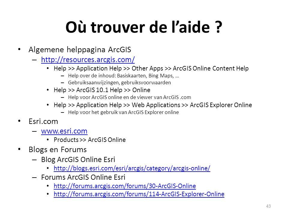 Où trouver de l'aide Algemene helppagina ArcGIS Esri.com