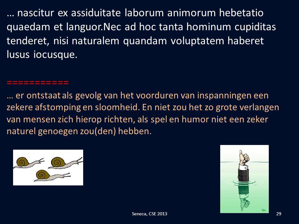 … nascitur ex assiduitate laborum animorum hebetatio quaedam et languor.Nec ad hoc tanta hominum cupiditas tenderet, nisi naturalem quandam voluptatem haberet lusus iocusque.