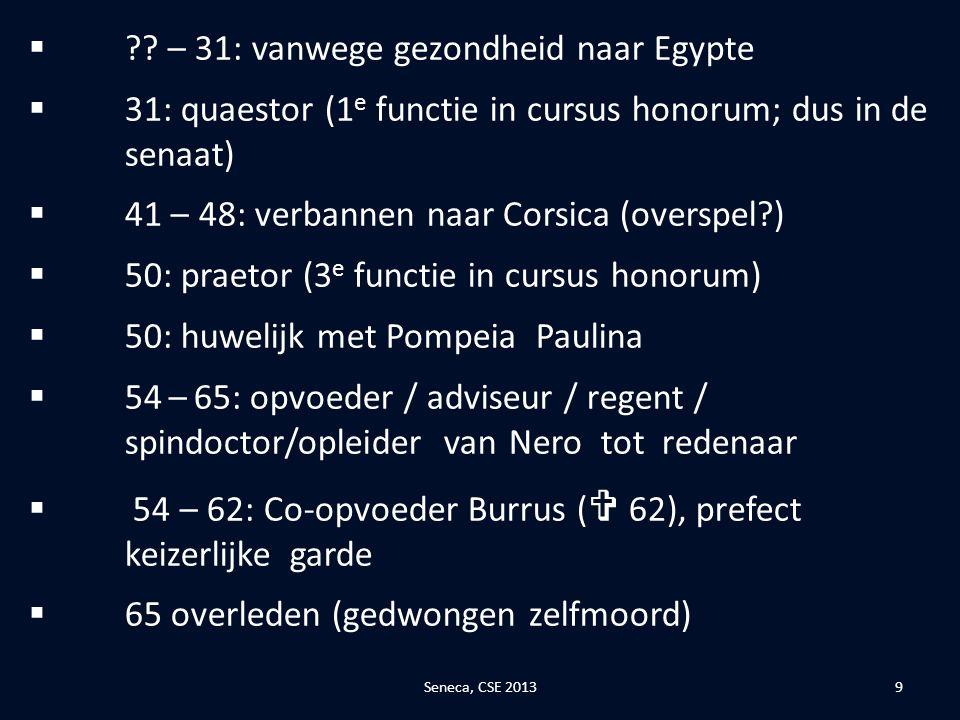 – 31: vanwege gezondheid naar Egypte