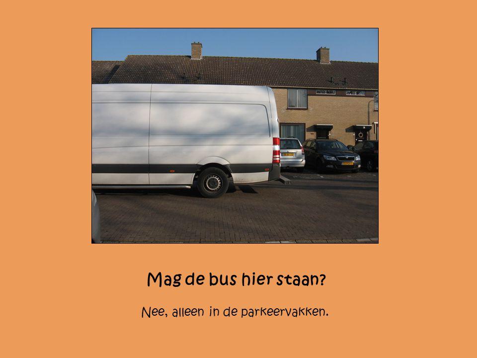 Mag de bus hier staan Nee, alleen in de parkeervakken.