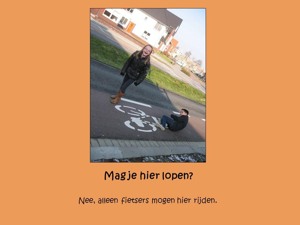 Mag je hier lopen Nee, alleen fietsers mogen hier rijden.